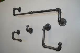 Bathroom Fixture Sets Industrial Bathroom Fixture Set Towel Bar By Kingwoodworks