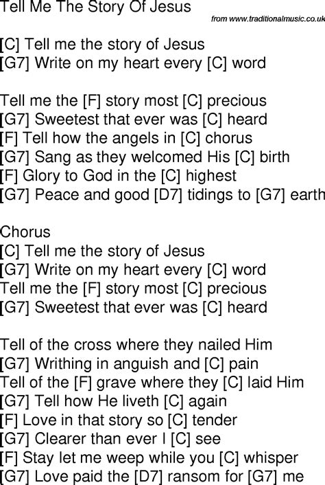 the story of me old time song lyrics with guitar chords for tell me the story of jesus c