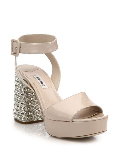 heels sandals lyst miu miu metal heel patent leather sandals