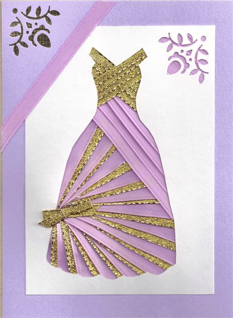 ribbon for card ribbon iris fold card dress in lilac and gold