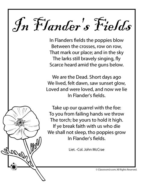 printable version of flanders fields poppy poem for memorial day and veterans day woo jr