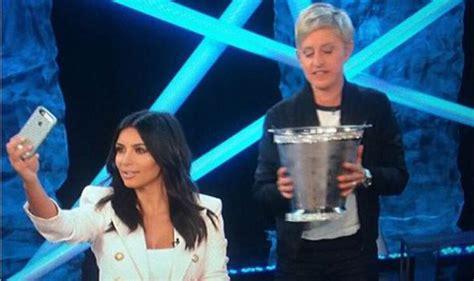 ellen degeneres kim kardashian ice bucket challenge watch kim kardashian s full ice bucket challenge on the