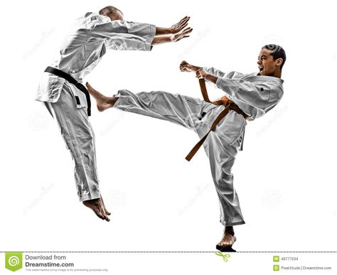 Karate The Masster Of Attack And Defence mma fighters fighting on the ground royalty free stock