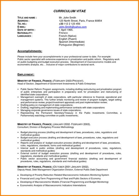 Resume Template For Experienced Professionals by Cv Professional Experience