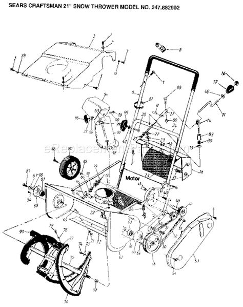 craftsman snowblower parts diagram craftsman 247882902 parts list and diagram
