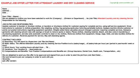appointment letter format for housekeeping attendant laundry and cleaning service offer letter
