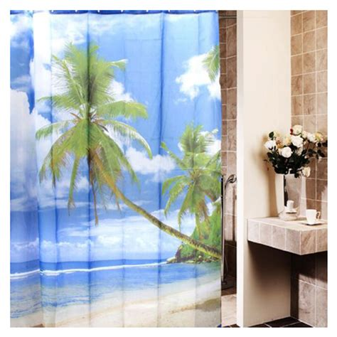 palm tree shower curtain hooks tropical palm tree summer beach polyester shower curtain
