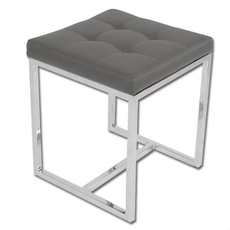 Gray Colored Stool by Padded Stool With Chrome Plated Legs Grey Ottomans