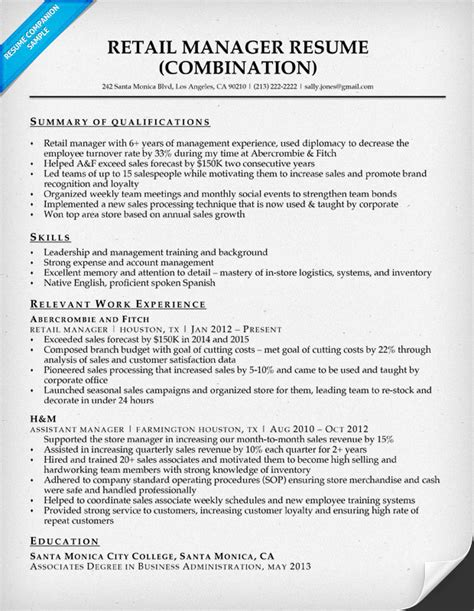 resume in retail management retail manager resume sle writing tips resume companion