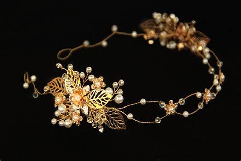 a gold sprayed flower crown wedding hairstyles photos leaf head piece gold leaf headband gold flower crown
