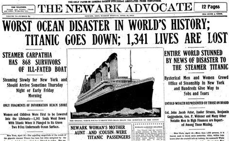 Titanic Sinks Newspaper by Iceberg Sinks Unsinkable Titanic On This Day