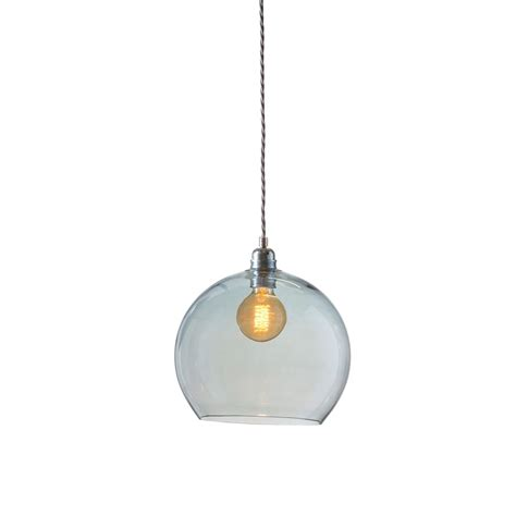 Blue Glass Pendant Light Mouthblown Globe Topaz Blue Glass Pendant Lighting And Lights Uk
