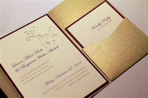 wedding invitation with pocket gold shimmer pocketfold invitation suite custom