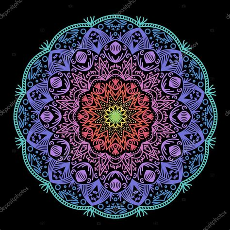 colored mandalas colored mandala on a black background stock vector