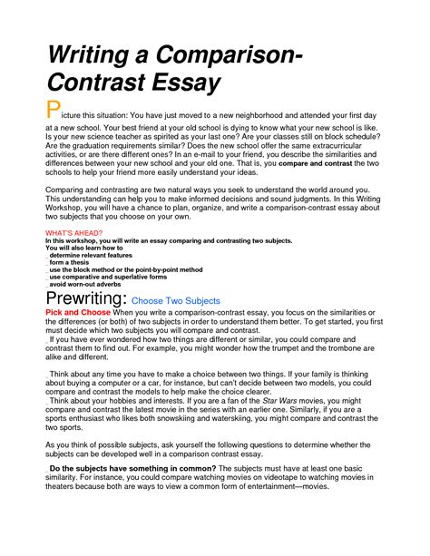 Topics For A Comparison Essay by Compare And Contrast Essay Introduction Help Best Writing Service