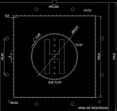 2d Floor Plans Planos De Helipuerto En Dwg Autocad Aeronaves En 2d