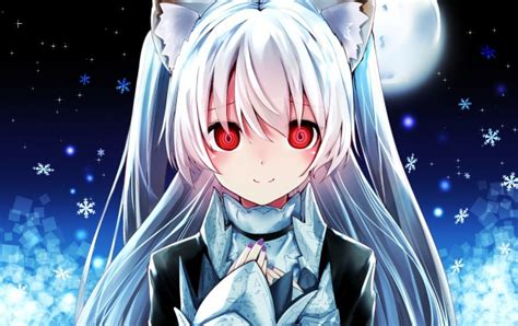 anime girl with white hair and red eyes wallpaper anime girl red eyes white hair animal ears