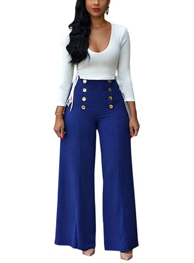 2 Set Steel Blue Overal Blouse By Queenara s 2 set nautical style slacks with metal buttons white top blue
