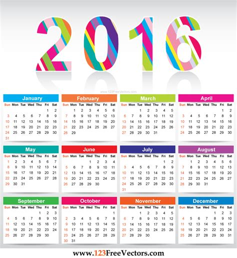 free colorful calendar 2016 vector template download