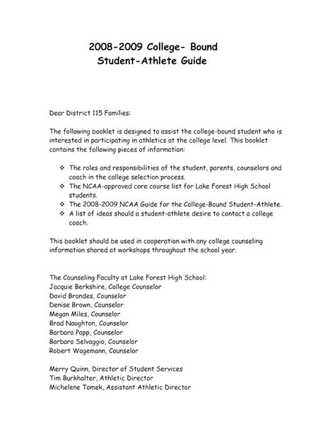 Recommendation Letter For College Athlete letter of recommendation sle athletic director