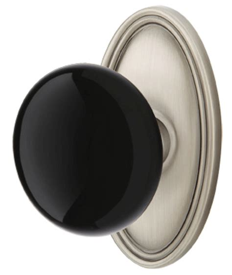 Black Interior Door Knobs by Black Porcelain Door Knob Set With Oval Rosette