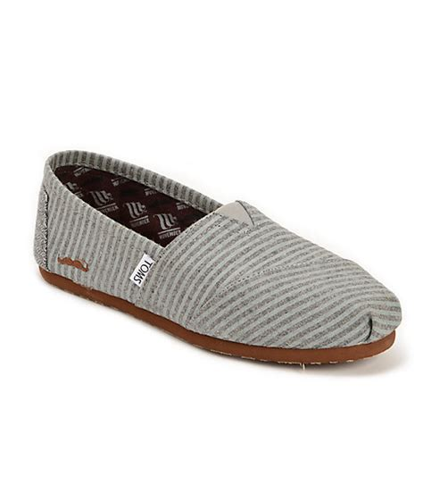 toms classic grey movember stripe wool womens slip on
