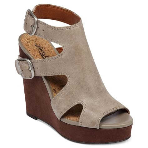 lucky brand wedge sandals lucky brand raaa platform wedge sandals in gray lyst