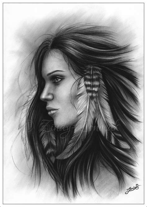 she with the feathers by zindy on deviantart drawings