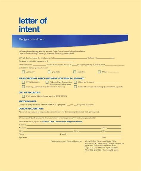 National Letter Of Intent And Scholarship Agreement Form Sle Letter Of Intent 43 Exles In Pdf Word