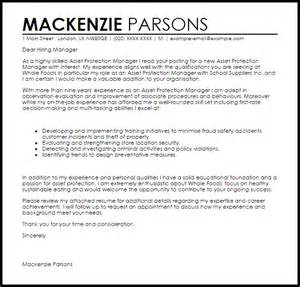 asset protection manager cover letter sample livecareer