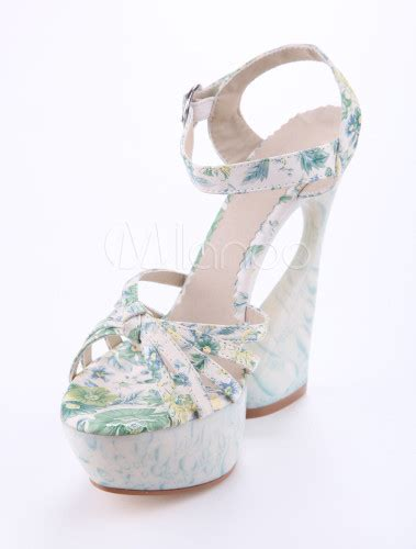 Ls Plus 5077 by Green Floral Special Shaped Heel Cloth S High Heels