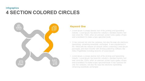 the colored section 4 section colored circles powerpoint and keynote template