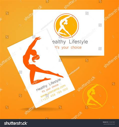 card with logo template fitness logo corporate design template business stock