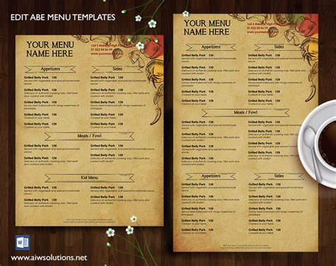 bistro menu template best 25 restaurant menu ideas on