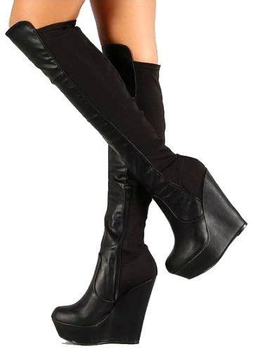 booth  black wedge knee high stretch boot platform