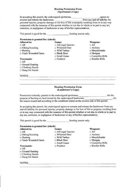 Permission Letter To Hunt On Property Landowner Permission Form Huntingnet Forums