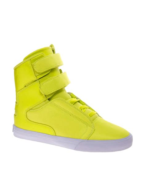 yellow high top sneakers asos supra society fluro yellow high top sneakers in