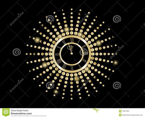 black and gold new years black and gold new year clock royalty free stock