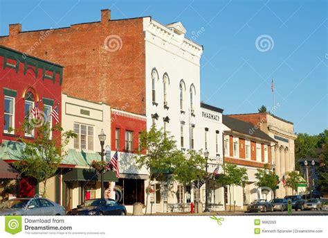 Awnings For Businesses Old Fashioned Main Street Stock Photos Image 9682293
