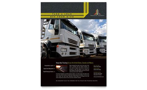 trucking transport flyer template design