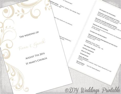 catholic wedding program template chagne scroll