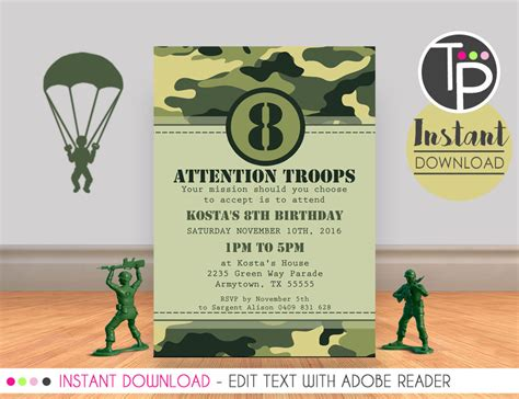 free camo birthday invite card template army invitation combat invitation army printable print