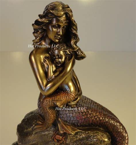 mermaid clock nautical decor sculpture figurine statue