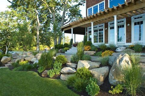 rock front yard landscape beach style  boulders