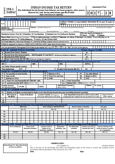 income tax section 17 income tax return forms ay 2017 18 fy 2016 17 which