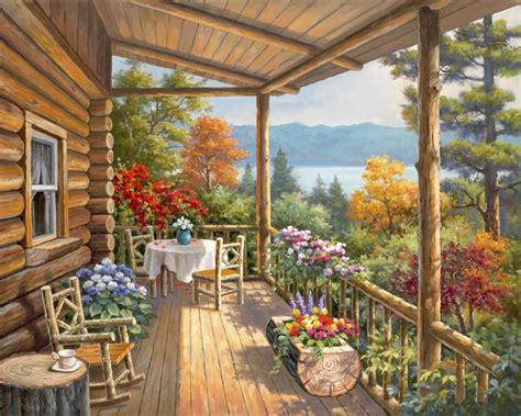 Log Cabin Porch by 31723 Log Cabin Covered Porch Bentley Licensing