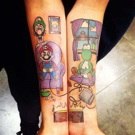 zombie tattoo norco mario luigi and yoshi ink and