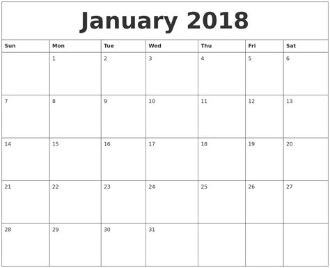 Printable Monthly Calendar For January 2018 | january 2018 free printable monthly calendar