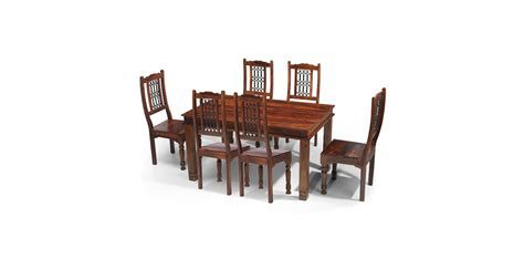 Chunky Dining Table And Chairs Jali Sheesham 160 Cm Chunky Dining Table And 6 Chairs Lifestyle Furniture Uk