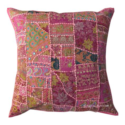 24 Inch Pillows by 24 Inch Indian Tribal Vintage Patchwork Throw Floor Pillow